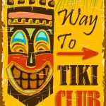 illustration of vintage poster for way to tiki club